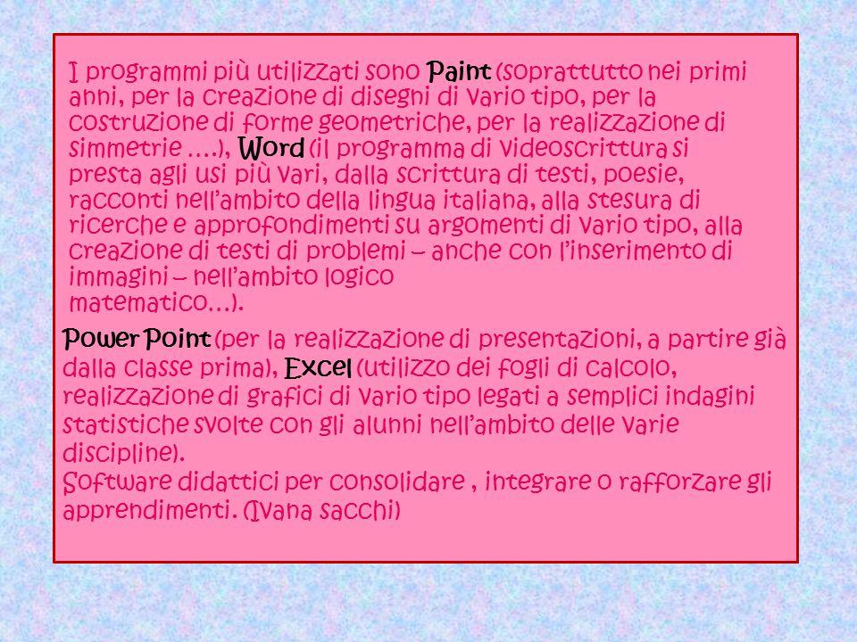 Power Point (per la realizzazione di presentazioni, soprattutto negli ultimi anni della scuola primaria), Excel (utilizzo dei fogli di calcolo, realiz