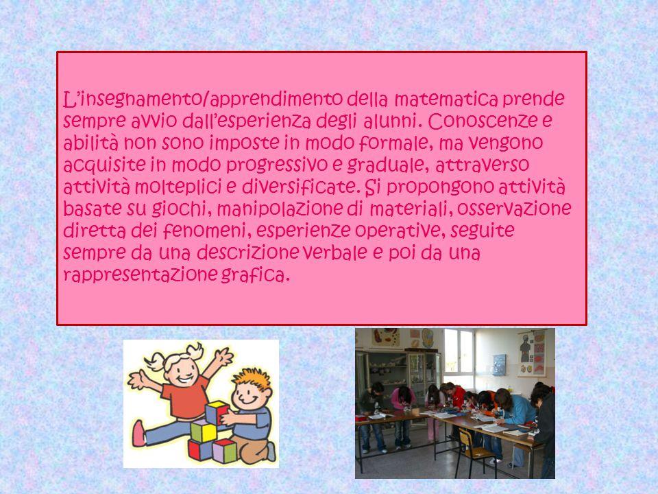 L'insegnamento/apprendimento della matematica prende sempre avvio dall'esperienza degli alunni. Conoscenze e abilità non sono imposte in modo formale,