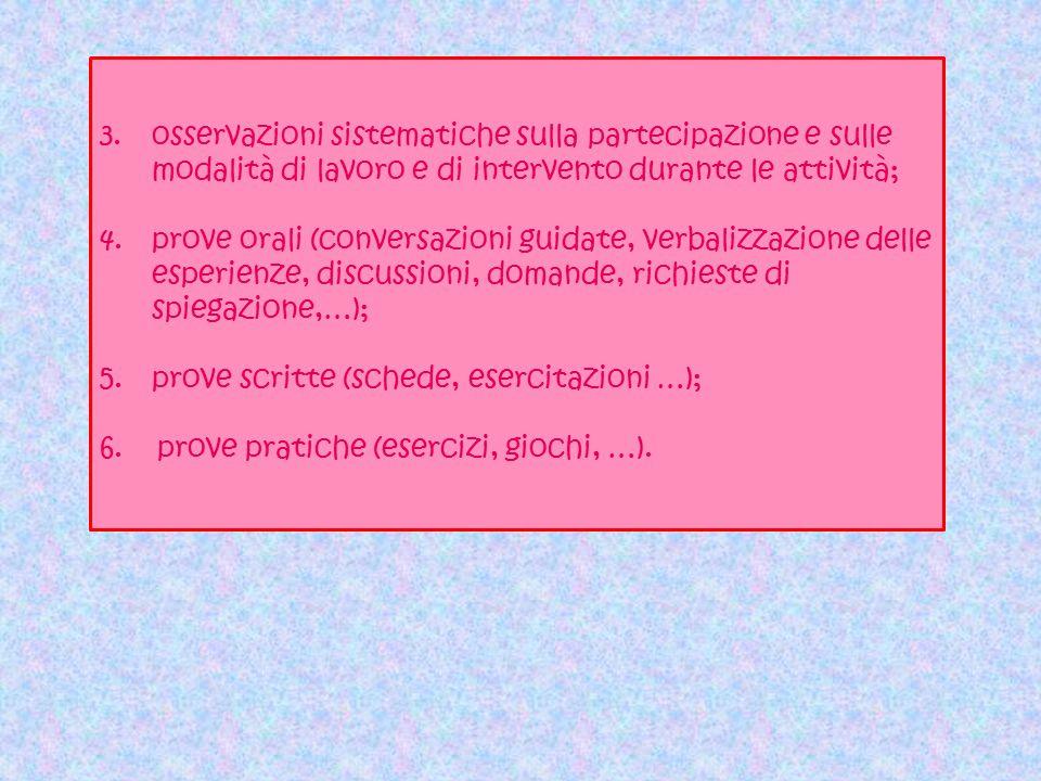 3.osservazioni sistematiche sulla partecipazione e sulle modalità di lavoro e di intervento durante le attività; 4.prove orali (conversazioni guidate,