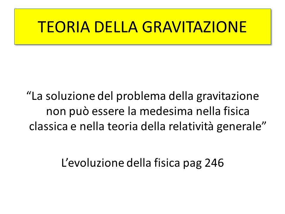 TEORIA DELLA GRAVITAZIONE La soluzione del problema della gravitazione non può essere la medesima nella fisica classica e nella teoria della relatività generale L'evoluzione della fisica pag 246
