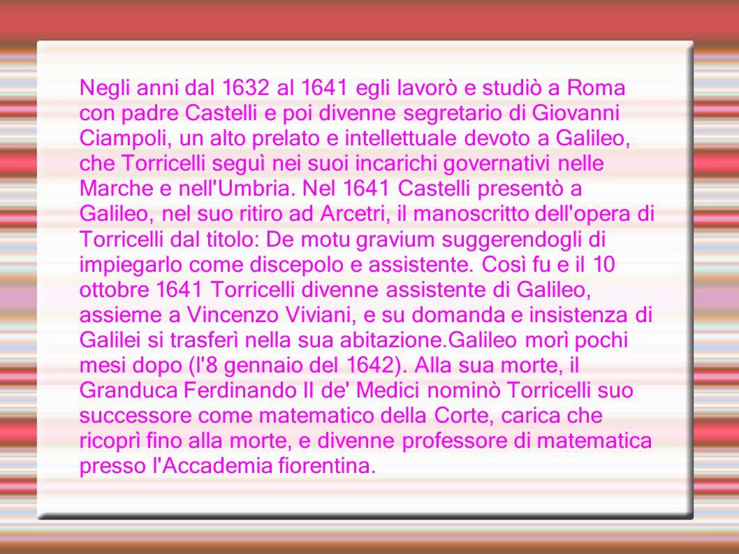 Negli anni dal 1632 al 1641 egli lavorò e studiò a Roma con padre Castelli e poi divenne segretario di Giovanni Ciampoli, un alto prelato e intellettu