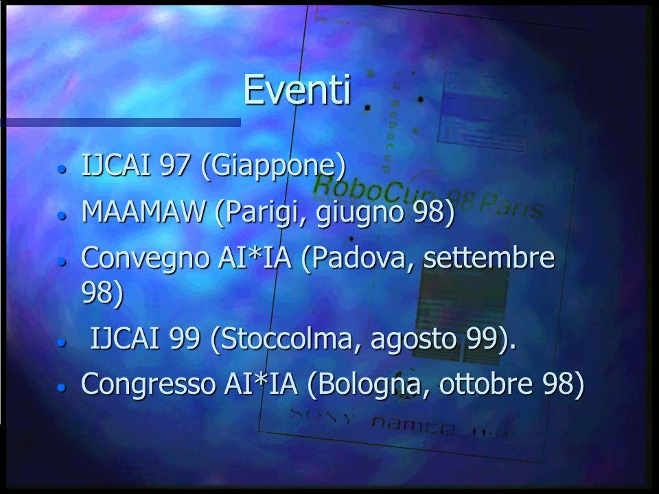 Eventi  IJCAI 97 (Giappone)  MAAMAW (Parigi, giugno 98)  Convegno AI*IA (Padova, settembre 98)  IJCAI 99 (Stoccolma, agosto 99).