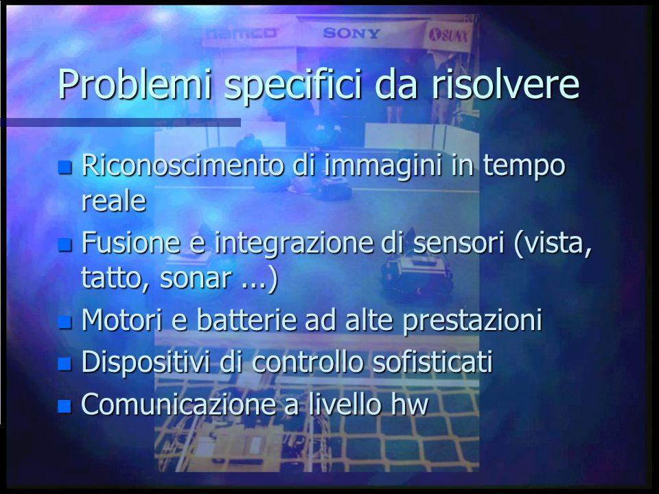 Problemi specifici da risolvere n Riconoscimento di immagini in tempo reale n Fusione e integrazione di sensori (vista, tatto, sonar...) n Motori e batterie ad alte prestazioni n Dispositivi di controllo sofisticati n Comunicazione a livello hw
