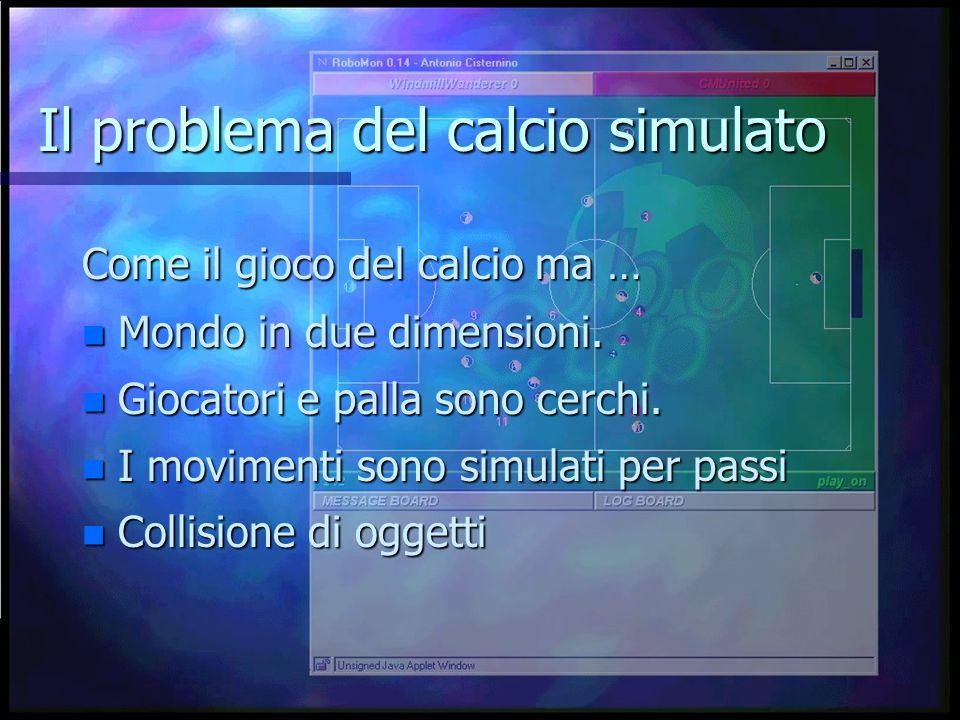 Il problema del calcio simulato Come il gioco del calcio ma … n Mondo in due dimensioni.