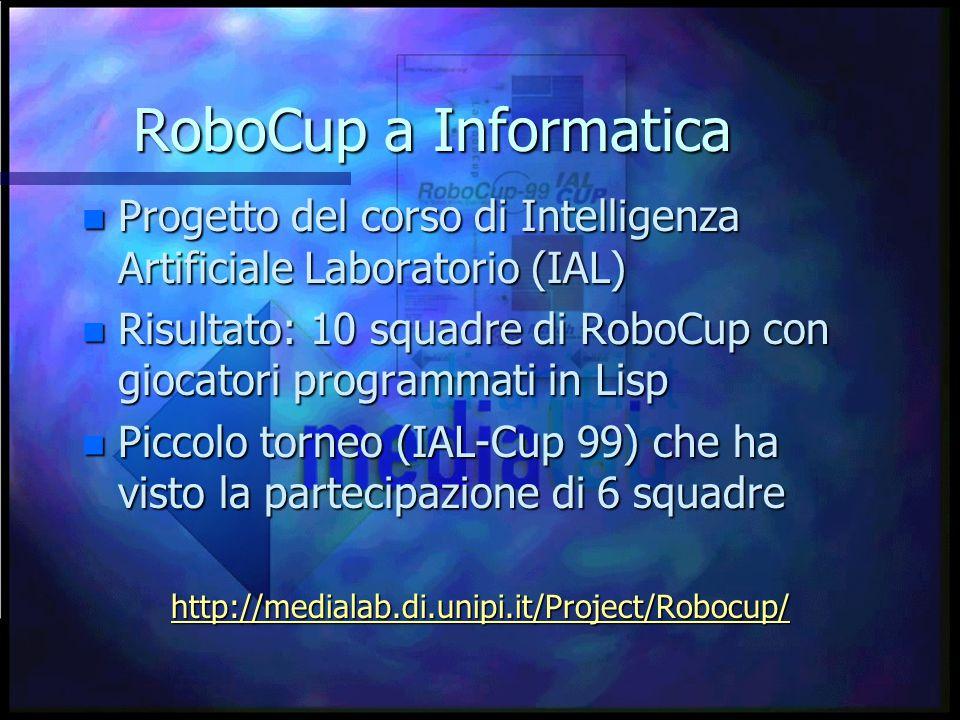 RoboCup a Informatica n Progetto del corso di Intelligenza Artificiale Laboratorio (IAL) n Risultato: 10 squadre di RoboCup con giocatori programmati in Lisp n Piccolo torneo (IAL-Cup 99) che ha visto la partecipazione di 6 squadre http://medialab.di.unipi.it/Project/Robocup/