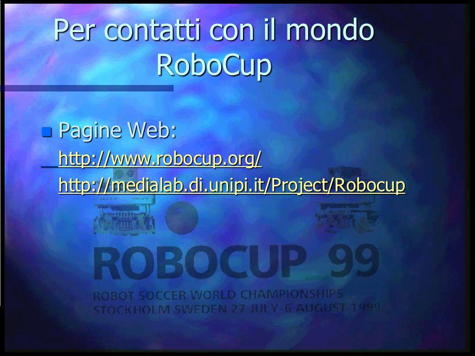 Per contatti con il mondo RoboCup Pagine Web: Pagine Web:http://www.robocup.org/http://medialab.di.unipi.it/Project/Robocup