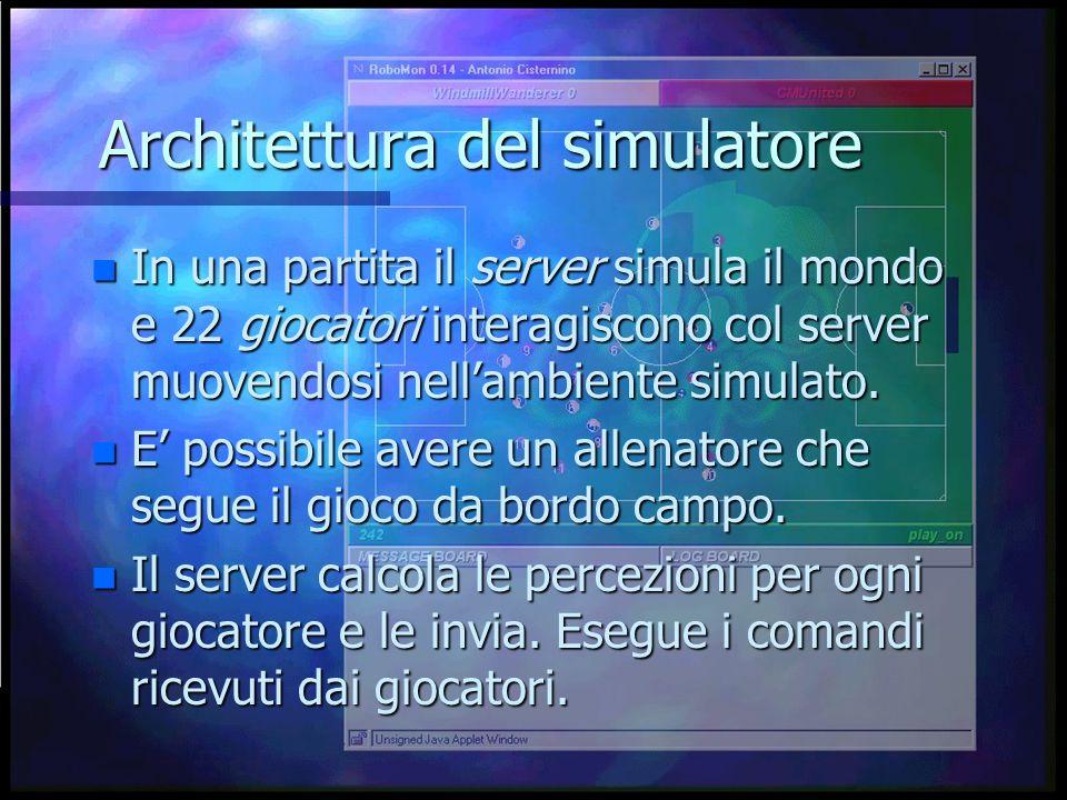 Architettura del simulatore n In una partita il server simula il mondo e 22 giocatori interagiscono col server muovendosi nell'ambiente simulato.
