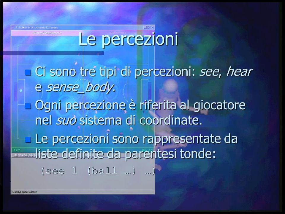 Le percezioni n Ci sono tre tipi di percezioni: see, hear e sense_body.