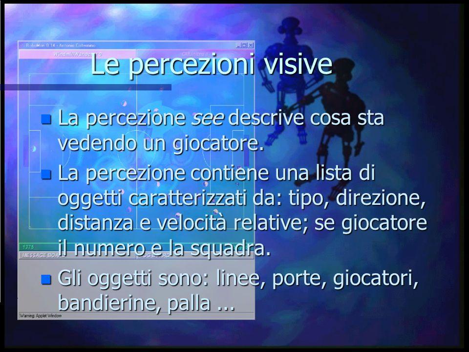 Le percezioni visive n La percezione see descrive cosa sta vedendo un giocatore.