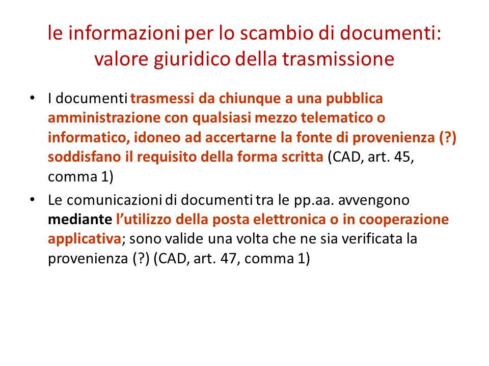 le informazioni per lo scambio di documenti: valore giuridico della trasmissione I documenti trasmessi da chiunque a una pubblica amministrazione con