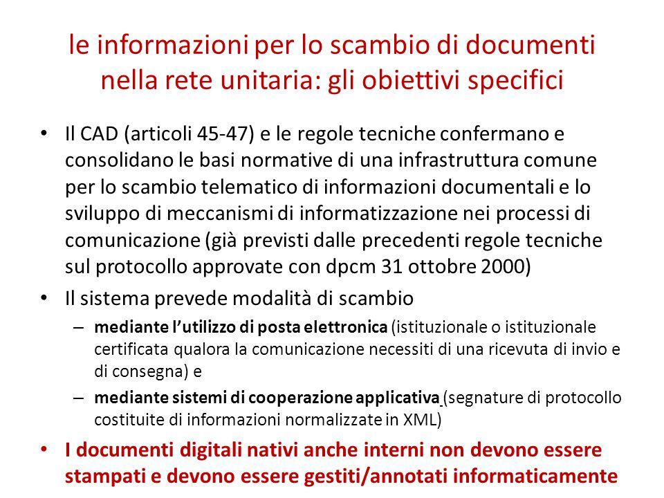 le informazioni per lo scambio di documenti nella rete unitaria: gli obiettivi specifici Il CAD (articoli 45-47) e le regole tecniche confermano e con