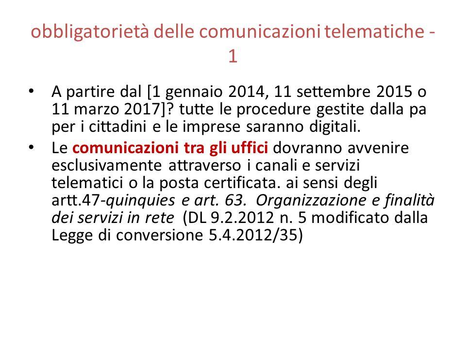 obbligatorietà delle comunicazioni telematiche - 1 A partire dal [1 gennaio 2014, 11 settembre 2015 o 11 marzo 2017]? tutte le procedure gestite dalla