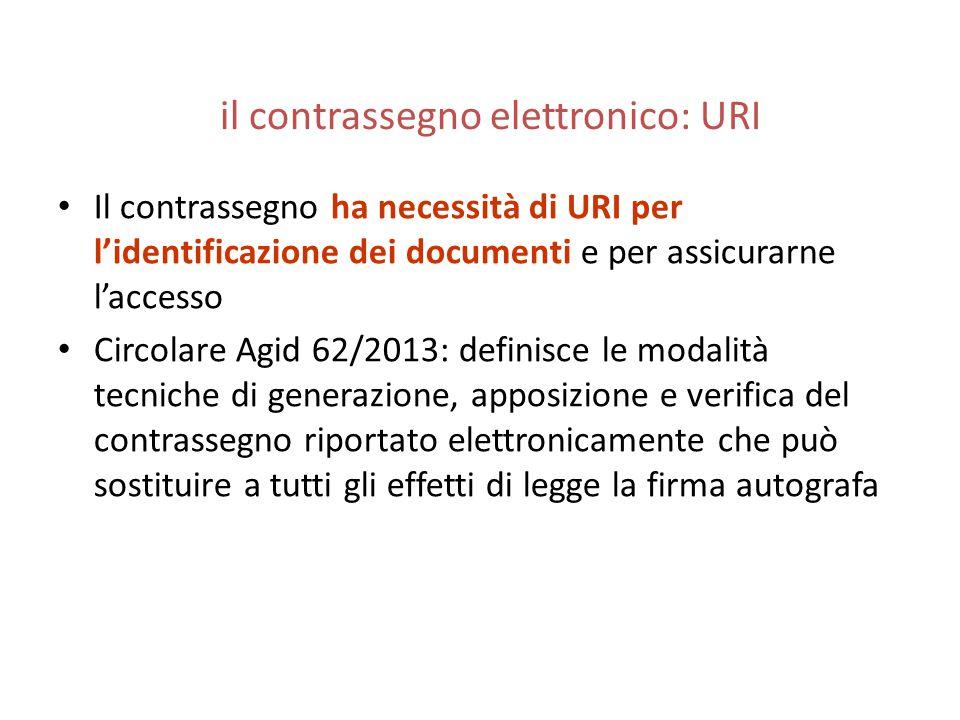 il contrassegno elettronico: URI Il contrassegno ha necessità di URI per l'identificazione dei documenti e per assicurarne l'accesso Circolare Agid 62