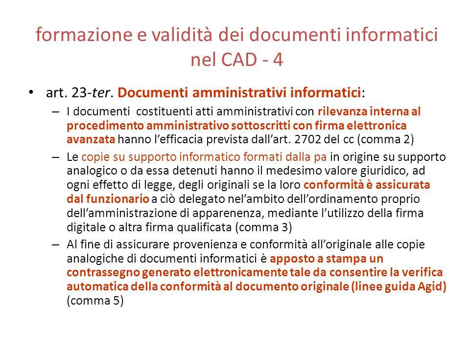 formazione e validità dei documenti informatici nel CAD - 4 art. 23-ter. Documenti amministrativi informatici: – I documenti costituenti atti amminist