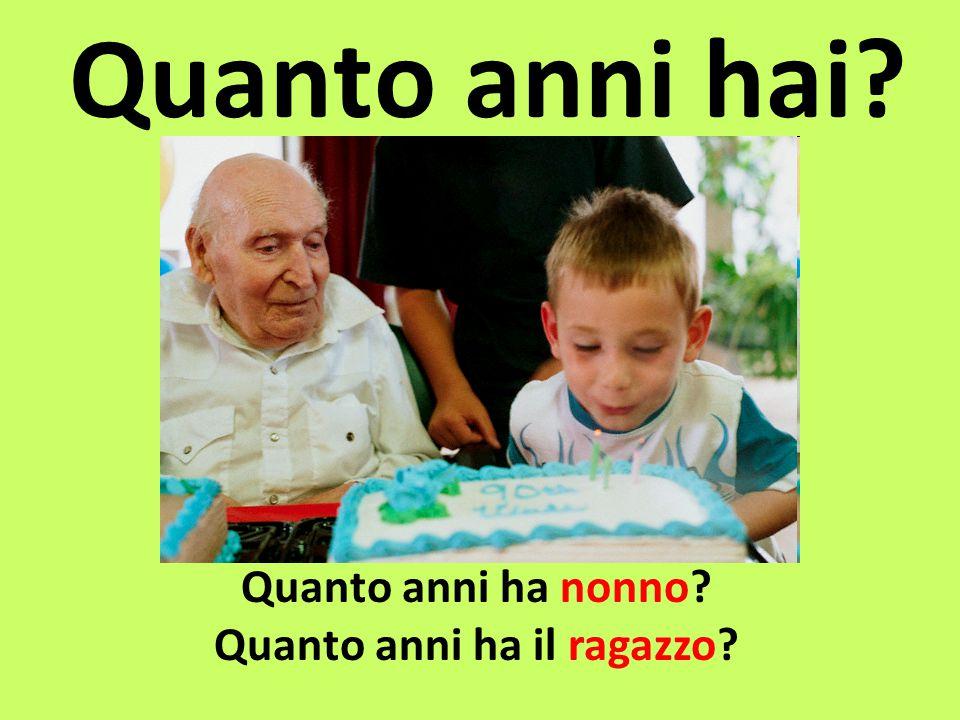 Quanto anni hai? Quanto anni ha nonno? Quanto anni ha il ragazzo?