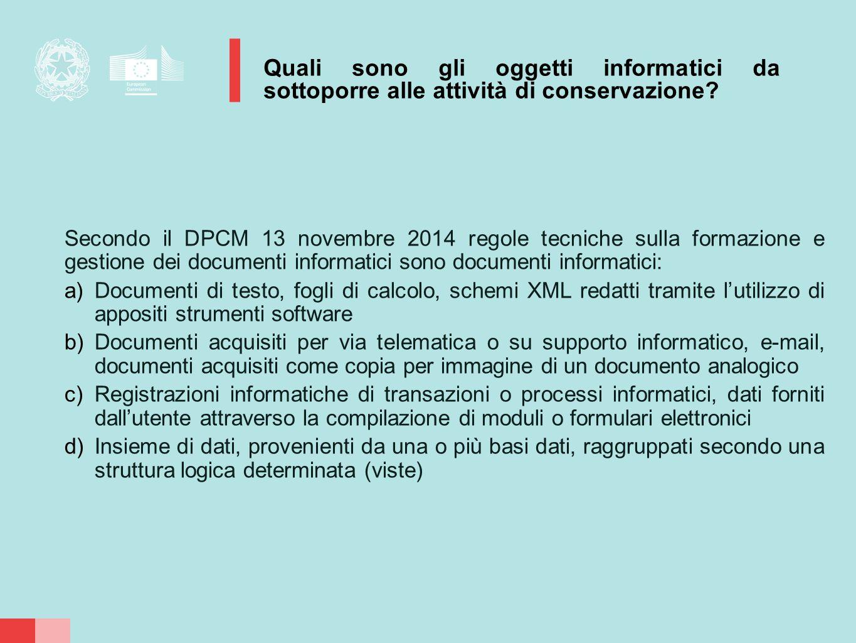 Secondo il DPCM 13 novembre 2014 regole tecniche sulla formazione e gestione dei documenti informatici sono documenti informatici: a)Documenti di test