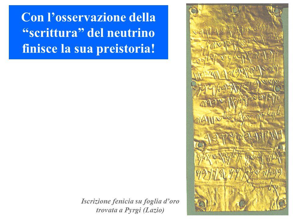 """Con l'osservazione della """"scrittura"""" del neutrino finisce la sua preistoria! Iscrizione fenicia su foglia d'oro trovata a Pyrgi (Lazio)"""