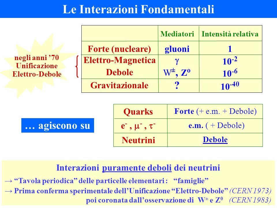 Le Interazioni Fondamentali Quarks Forte (+ e.m. + Debole) e -,  -,  - e.m. ( + Debole) Neutrini Debole … agiscono su Interazioni puramente deboli d