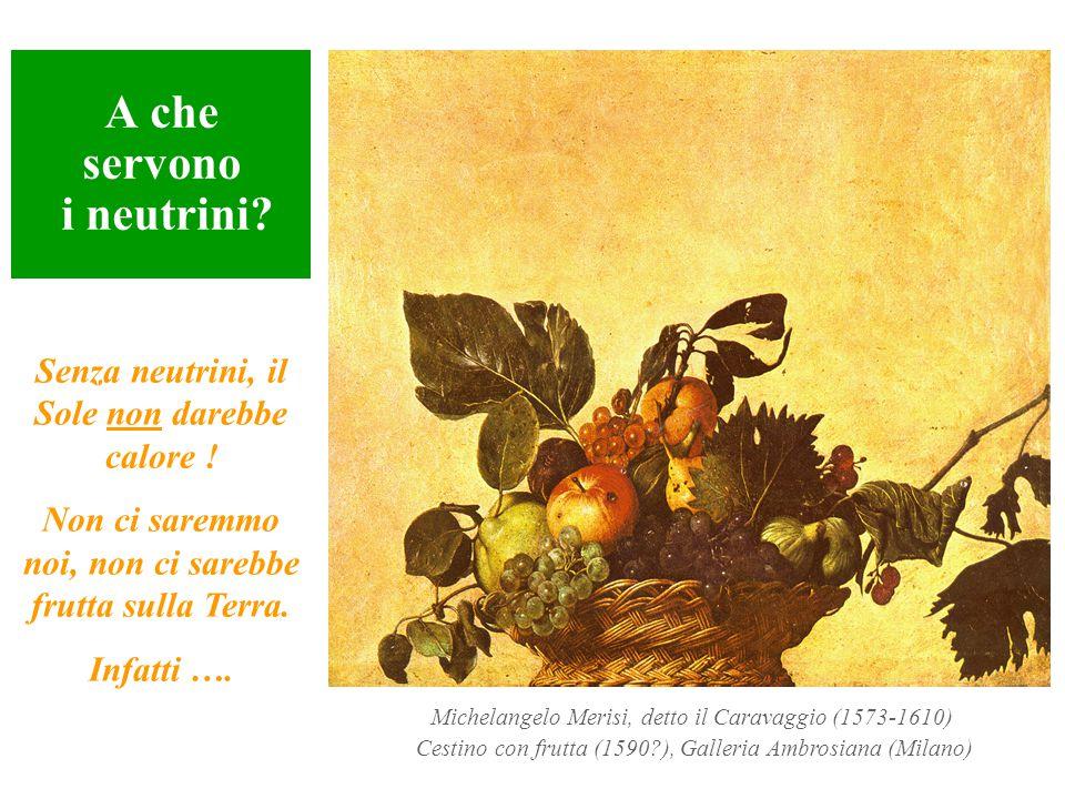 A che servono i neutrini? Michelangelo Merisi, detto il Caravaggio (1573-1610) Cestino con frutta (1590?), Galleria Ambrosiana (Milano) Senza neutrini