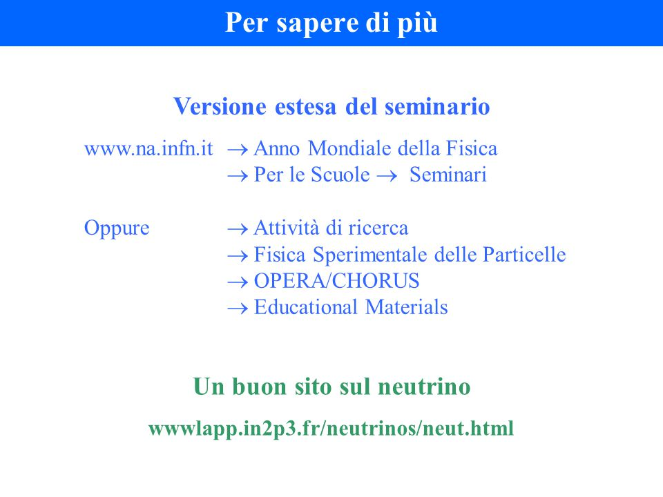 Per sapere di più Versione estesa del seminario www.na.infn.it  Anno Mondiale della Fisica  Per le Scuole  Seminari Oppure  Attività di ricerca 