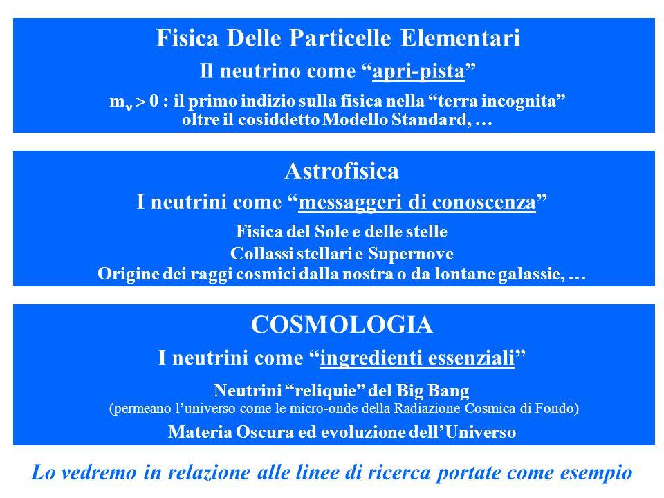 Astrofisica I neutrini come messaggeri di conoscenza Fisica del Sole e delle stelle Collassi stellari e Supernove Origine dei raggi cosmici dalla nostra o da lontane galassie, … COSMOLOGIA I neutrini come ingredienti essenziali Neutrini reliquie del Big Bang (permeano l'universo come le micro-onde della Radiazione Cosmica di Fondo) Materia Oscura ed evoluzione dell'Universo Lo vedremo in relazione alle linee di ricerca portate come esempio Fisica Delle Particelle Elementari Il neutrino come apri-pista m   0 : il primo indizio sulla fisica nella terra incognita oltre il cosiddetto Modello Standard, …