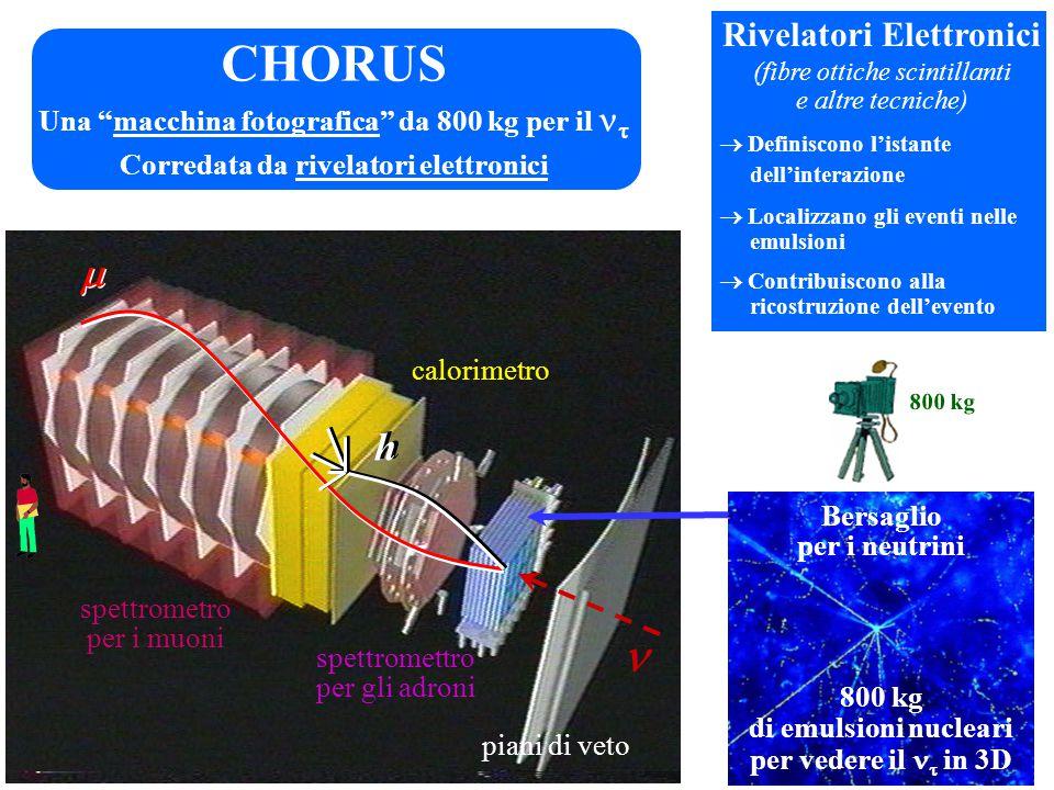   h h CHORUS Bersaglio per i neutrini 800 kg di emulsioni nucleari per vedere il  in 3D Una macchina fotografica da 800 kg per il  800 kg Rivelatori Elettronici (fibre ottiche scintillanti e altre tecniche)  Definiscono l'istante dell'interazione  Localizzano gli eventi nelle emulsioni  Contribuiscono alla ricostruzione dell'evento calorimetro piani di veto spettromettro per gli adroni spettrometro per i muoni Corredata da rivelatori elettronici