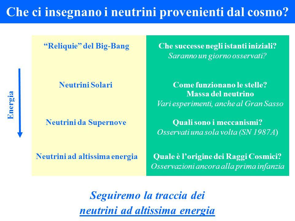Che ci insegnano i neutrini provenienti dal cosmo? Quali sono i meccanismi? Osservati una sola volta (SN 1987A) Neutrini da Supernove Quale è l'origin
