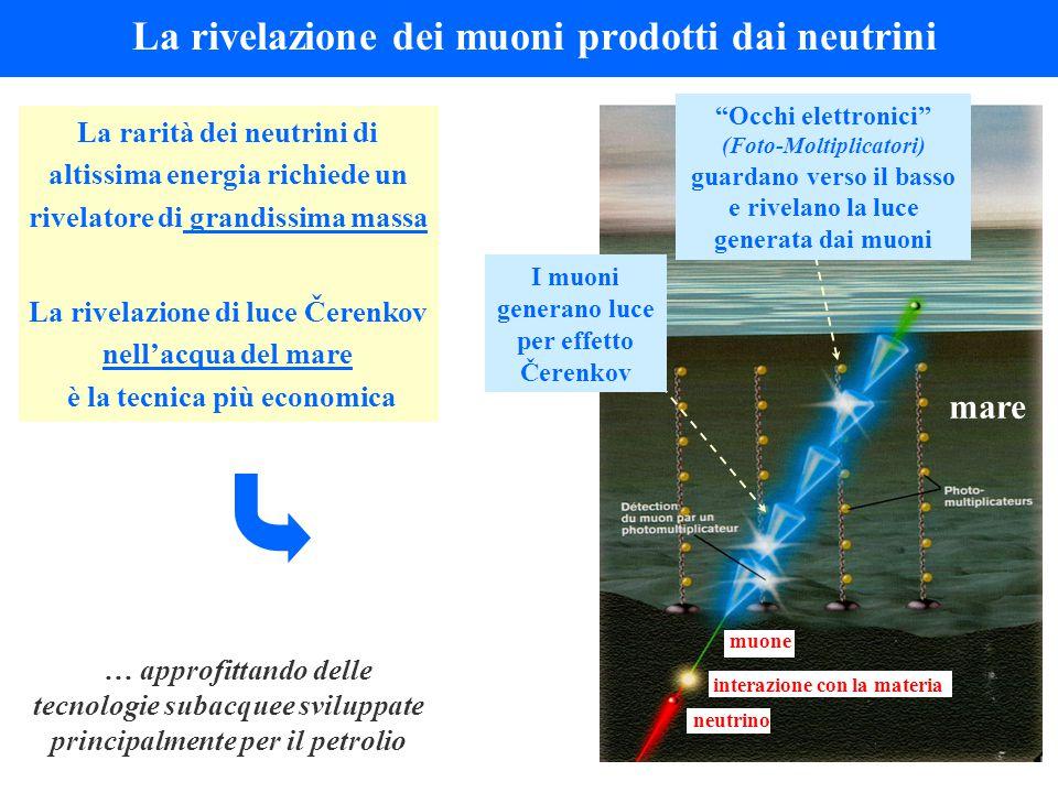 La rivelazione dei muoni prodotti dai neutrini La rarità dei neutrini di altissima energia richiede un rivelatore di grandissima massa La rivelazione di luce Čerenkov nell'acqua del mare è la tecnica più economica mare neutrino muone Occhi elettronici (Foto-Moltiplicatori) guardano verso il basso e rivelano la luce generata dai muoni I muoni generano luce per effetto Čerenkov interazione con la materia … approfittando delle tecnologie subacquee sviluppate principalmente per il petrolio