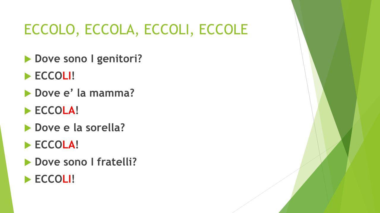 ECCOLO, ECCOLA, ECCOLI, ECCOLE  Dove sono I genitori?  ECCOLI!  Dove e' la mamma?  ECCOLA!  Dove e la sorella?  ECCOLA!  Dove sono I fratelli?
