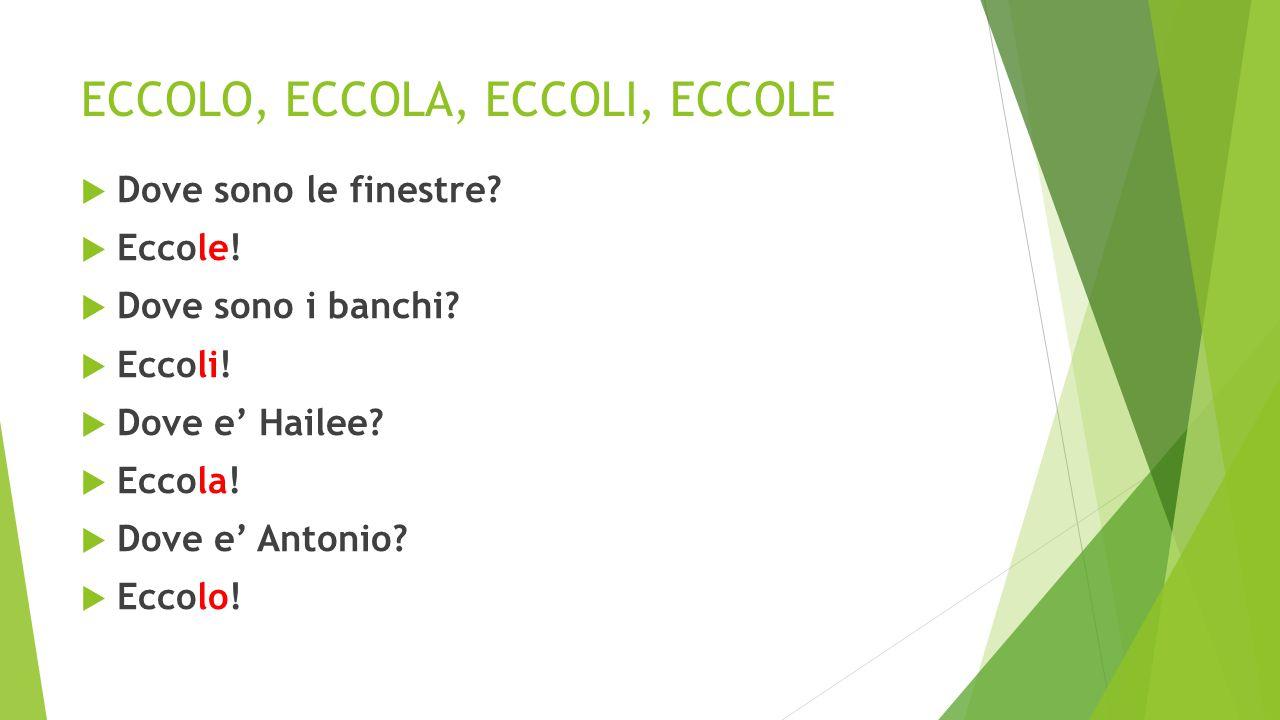 ECCOLO, ECCOLA, ECCOLI, ECCOLE  Dove e' la lavagna.
