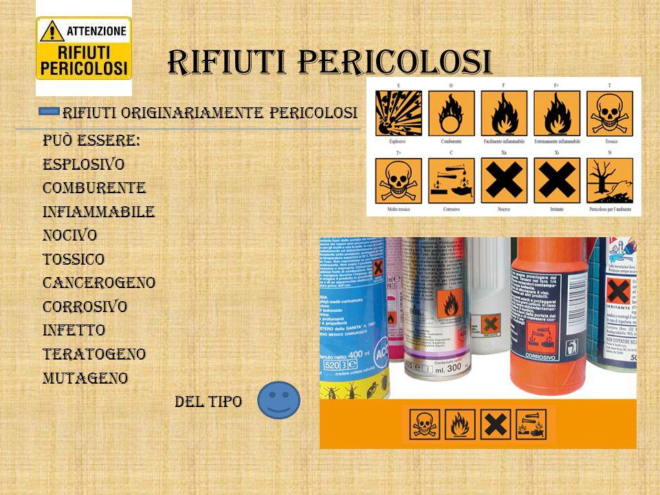 Rifiuti pericolosi rifiuti originariamente pericolosi Può essere: Esplosivo Comburente Infiammabile Nocivo Tossico Cancerogeno Corrosivo Infetto Terat