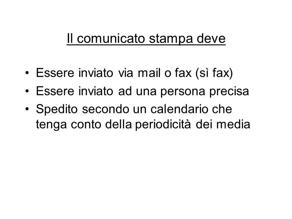 Il comunicato stampa deve Essere inviato via mail o fax (sì fax) Essere inviato ad una persona precisa Spedito secondo un calendario che tenga conto d