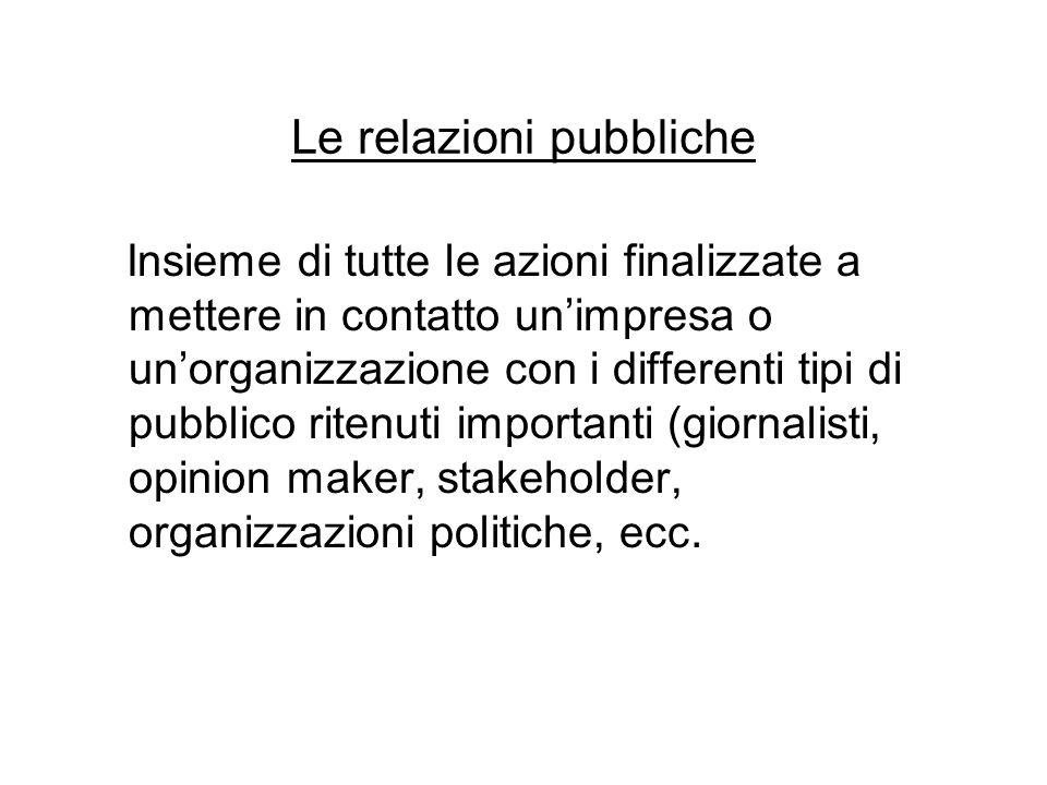 Le relazioni pubbliche Insieme di tutte le azioni finalizzate a mettere in contatto un'impresa o un'organizzazione con i differenti tipi di pubblico r