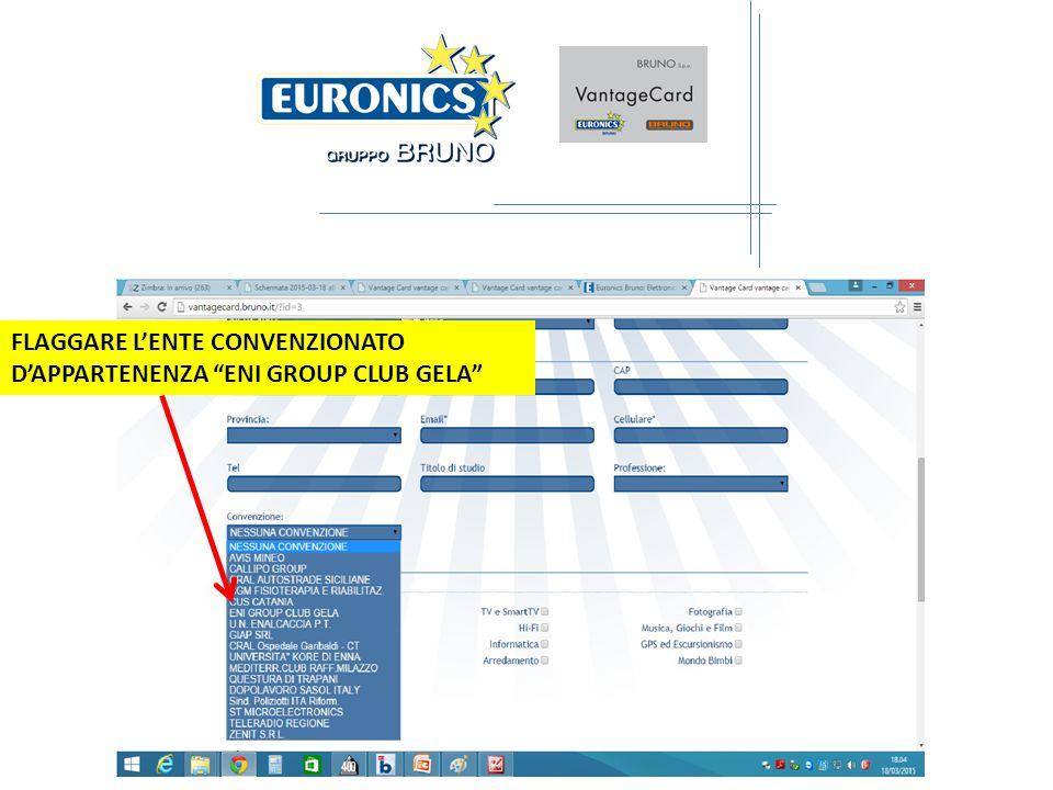 FLAGGARE L'ENTE CONVENZIONATO D'APPARTENENZA ENI GROUP CLUB GELA