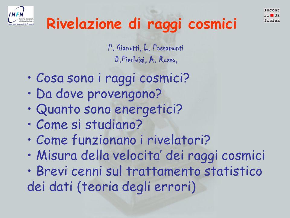 Rivelazione di raggi cosmici Cosa sono i raggi cosmici.