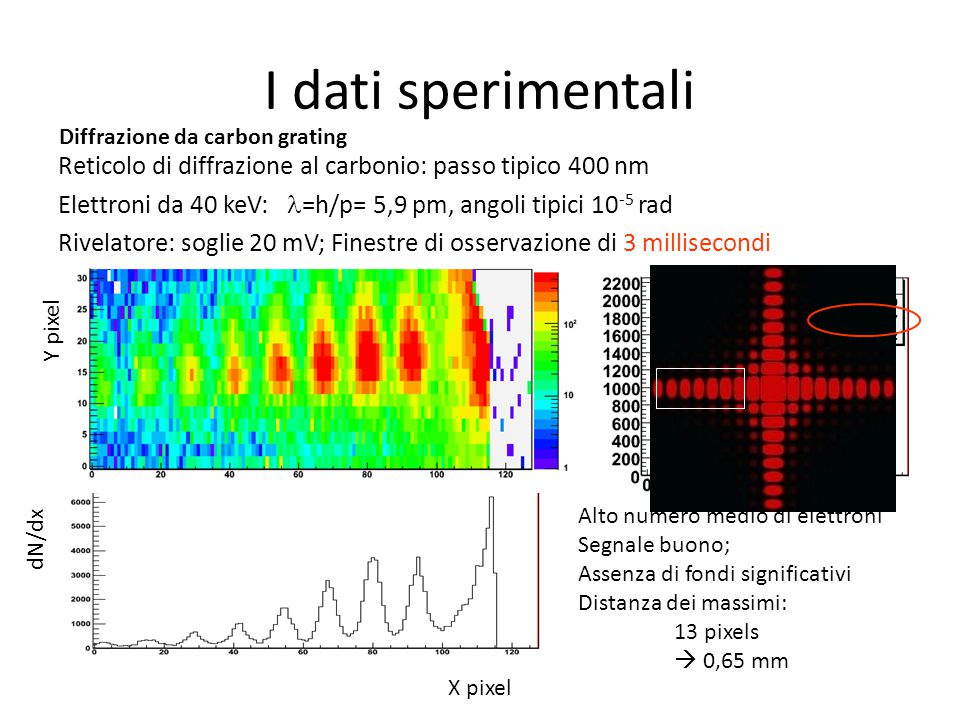 X pixel I dati sperimentali X pixel Y pixel dN/dx Reticolo di diffrazione al carbonio: passo tipico 400 nm Elettroni da 40 keV: =h/p= 5,9 pm, angoli t