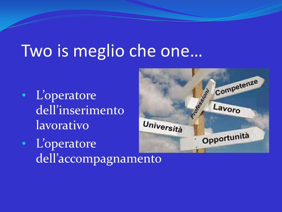 Two is meglio che one… L'operatore dell'inserimento lavorativo L'operatore dell'accompagnamento