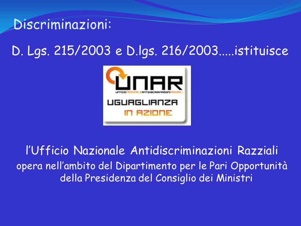 Discriminazioni: D. Lgs. 215/2003 e D.lgs.