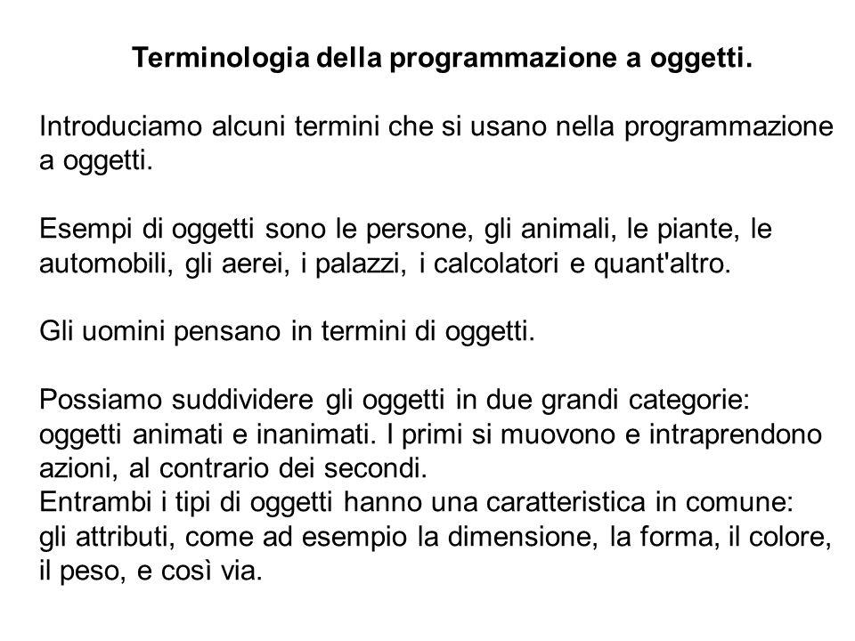 12 Terminologia della programmazione a oggetti.