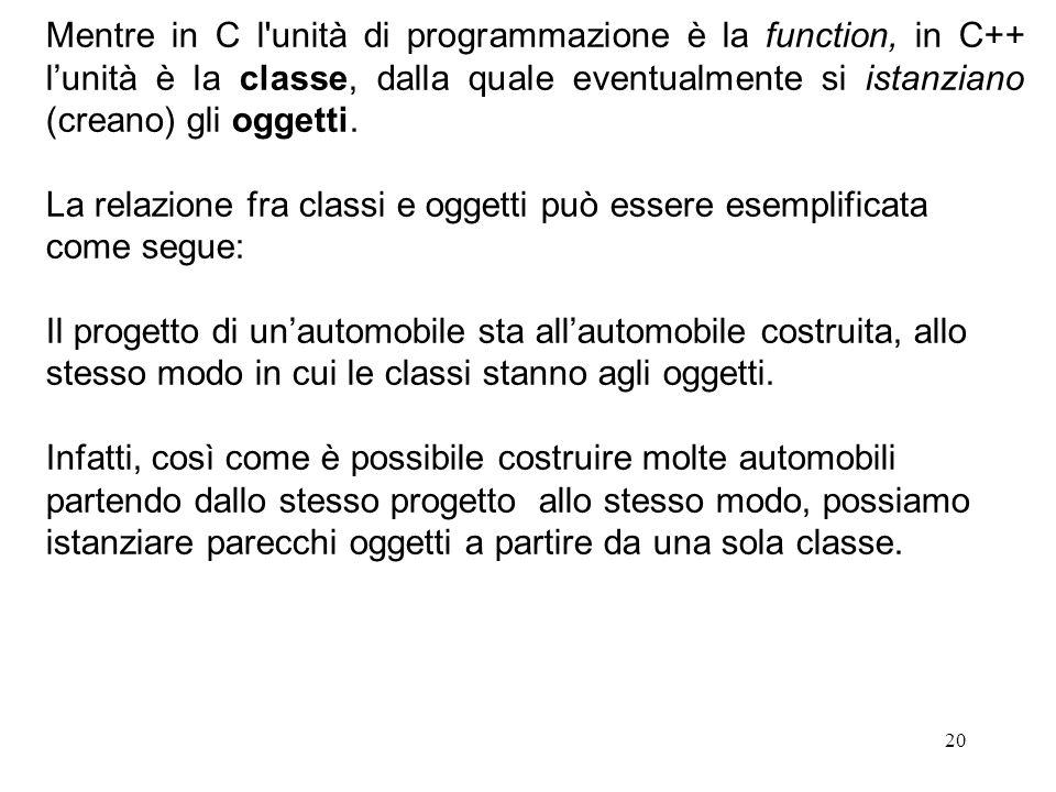 20 Mentre in C l unità di programmazione è la function, in C++ l'unità è la classe, dalla quale eventualmente si istanziano (creano) gli oggetti.