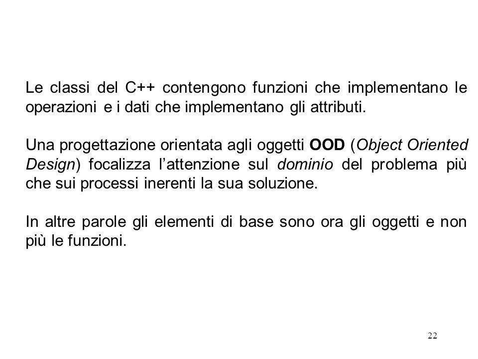 22 Le classi del C++ contengono funzioni che implementano le operazioni e i dati che implementano gli attributi.