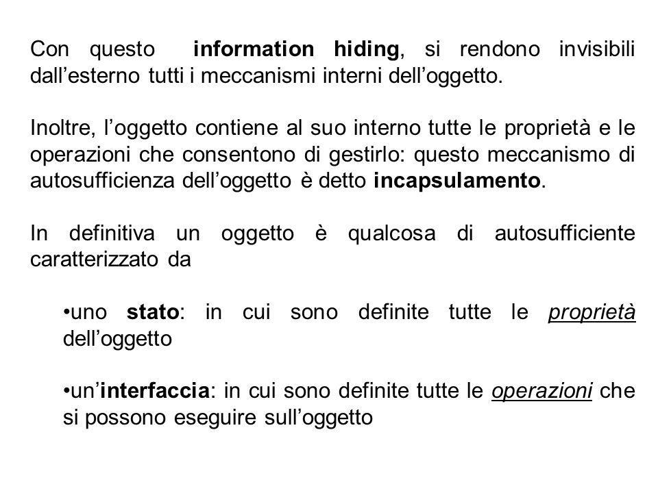 27 Con questo information hiding, si rendono invisibili dall'esterno tutti i meccanismi interni dell'oggetto.