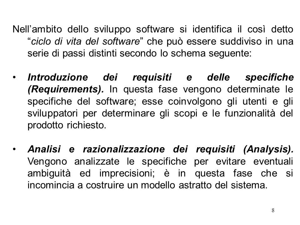 8 Nell'ambito dello sviluppo software si identifica il così detto ciclo di vita del software che può essere suddiviso in una serie di passi distinti secondo lo schema seguente: Introduzione dei requisiti e delle specifiche (Requirements).