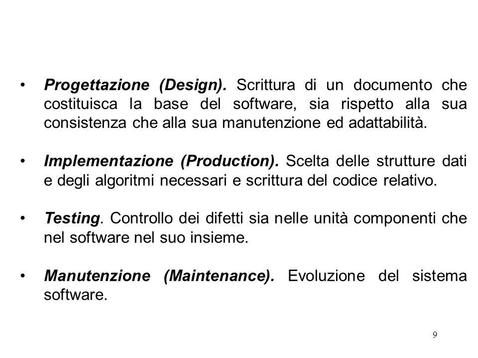 10 A parte la manutenzione, che deve necessariamente essere effettuata dopo che il software è andato in uso, si hanno due modelli per la progettazione del software: Waterfall (a cascata) ed Evolutionary (a spirale o evolutivo).