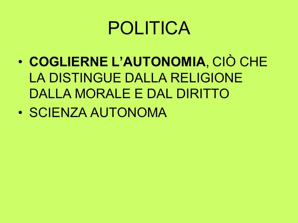 POLITICA COGLIERNE L'AUTONOMIA, CIÒ CHE LA DISTINGUE DALLA RELIGIONE DALLA MORALE E DAL DIRITTO SCIENZA AUTONOMA