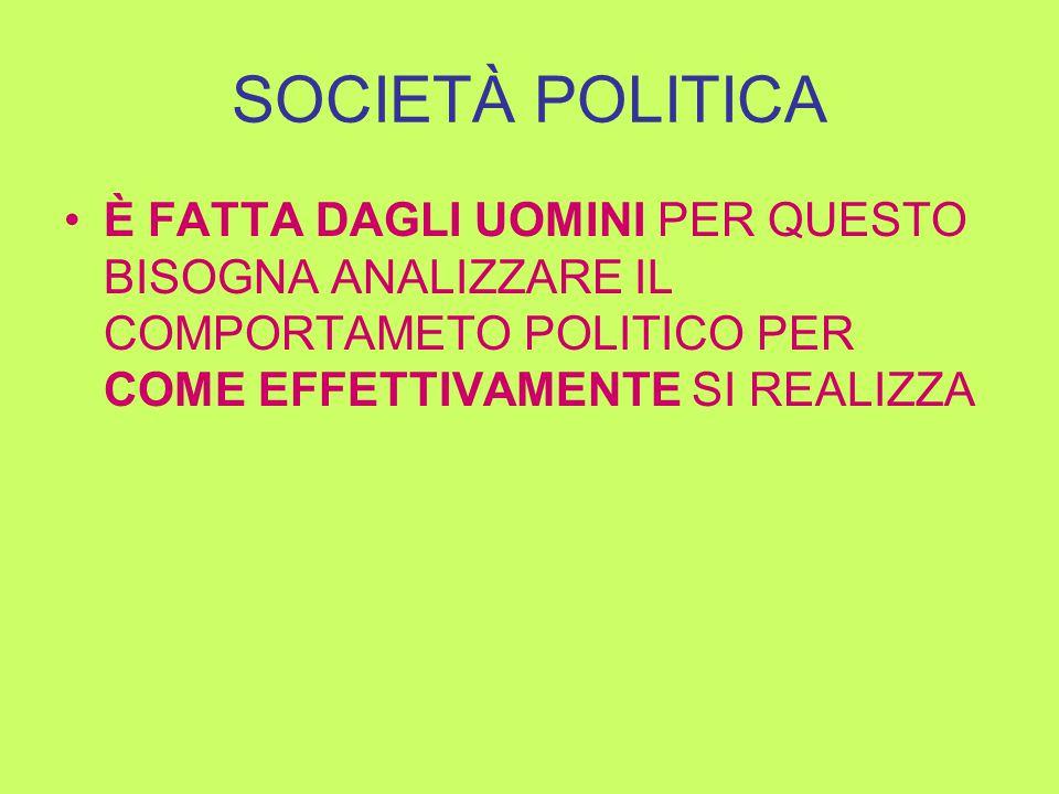 SOCIETÀ POLITICA È FATTA DAGLI UOMINI PER QUESTO BISOGNA ANALIZZARE IL COMPORTAMETO POLITICO PER COME EFFETTIVAMENTE SI REALIZZA
