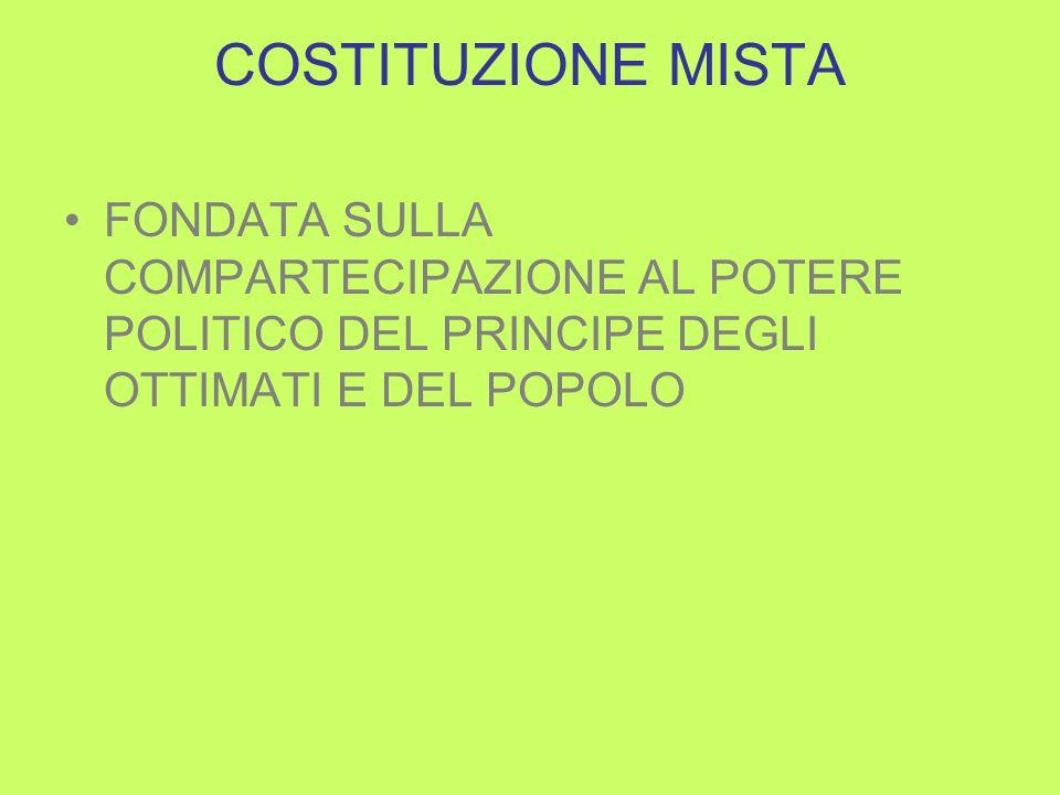 COSTITUZIONE MISTA FONDATA SULLA COMPARTECIPAZIONE AL POTERE POLITICO DEL PRINCIPE DEGLI OTTIMATI E DEL POPOLO
