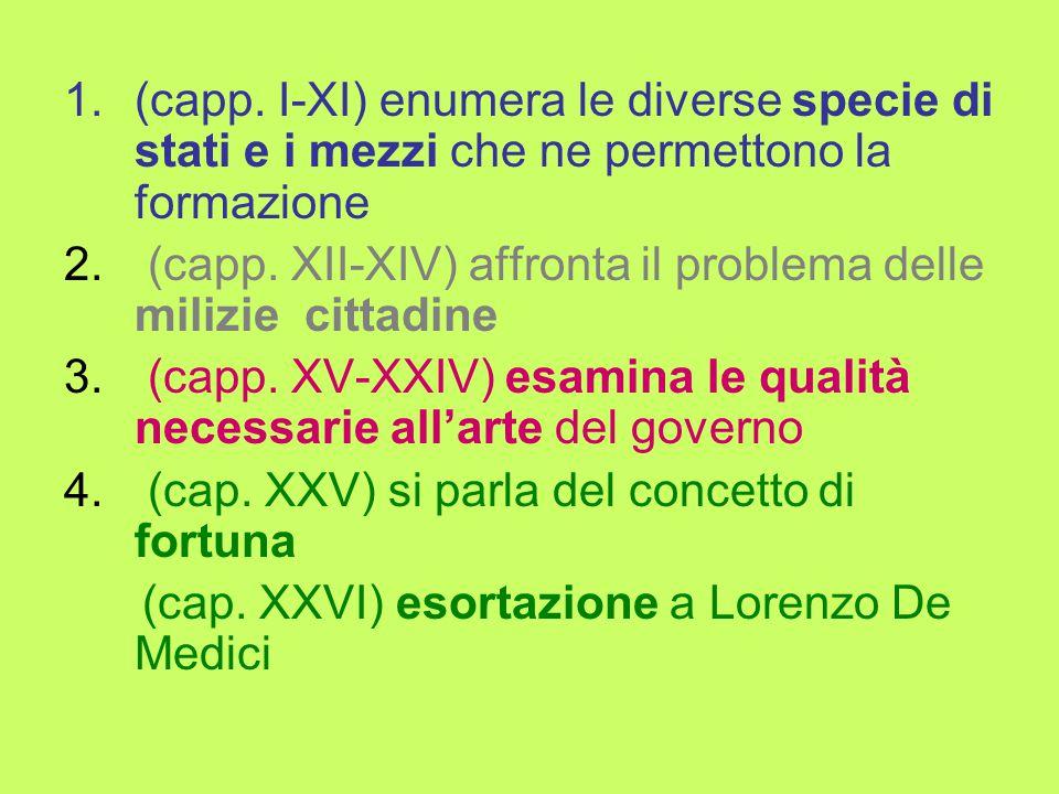 1.(capp. I-XI) enumera le diverse specie di stati e i mezzi che ne permettono la formazione 2.