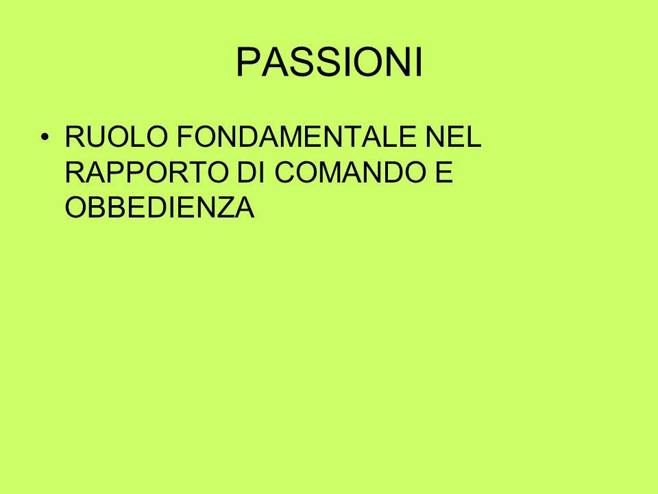 PASSIONI RUOLO FONDAMENTALE NEL RAPPORTO DI COMANDO E OBBEDIENZA
