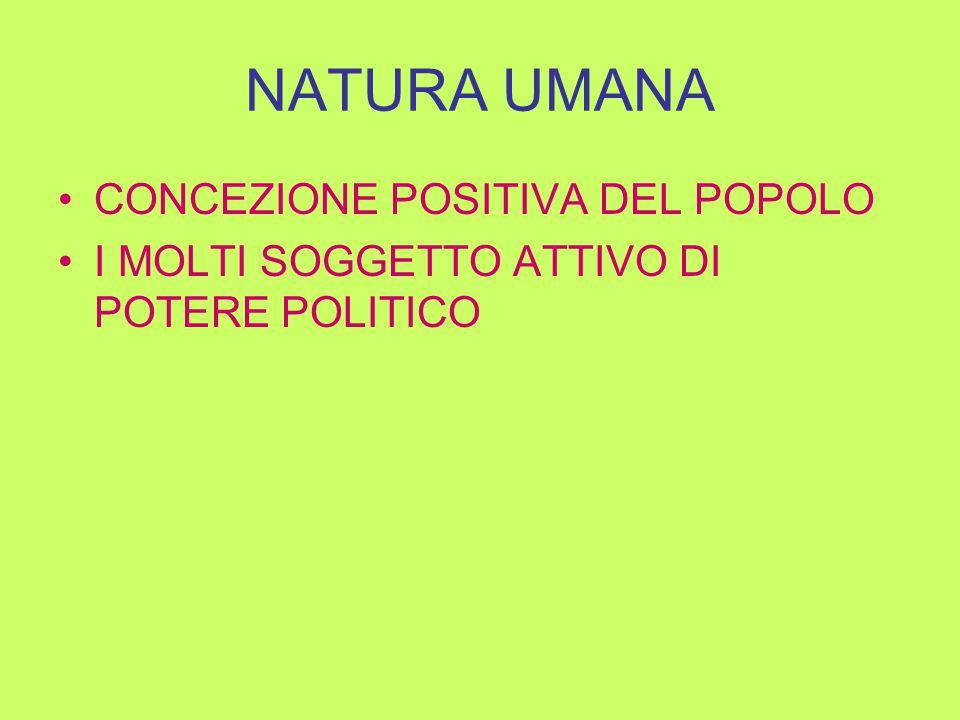 NATURA UMANA CONCEZIONE POSITIVA DEL POPOLO I MOLTI SOGGETTO ATTIVO DI POTERE POLITICO